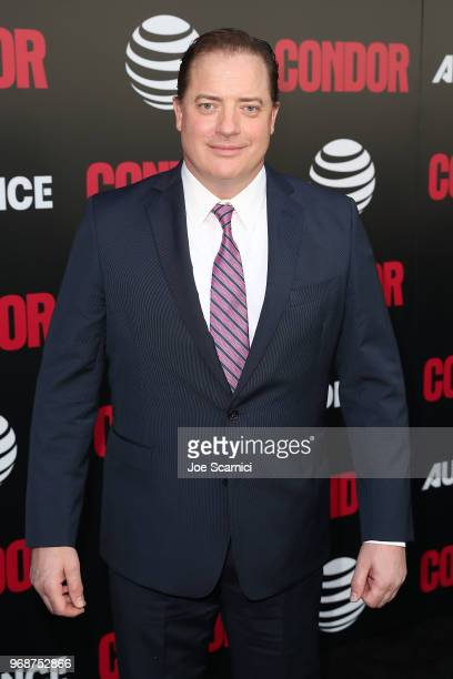 Brendan Fraser arrives at the ATT AUDIENCE Network Premiere of CONDOR at NeueHouse Hollywood on June 6 2018 in Los Angeles California