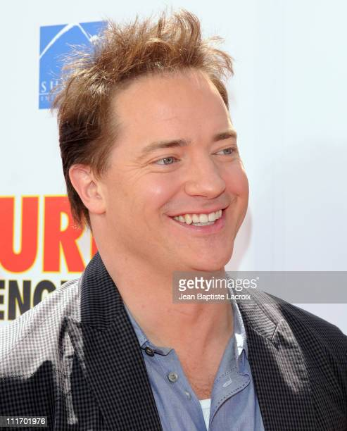 Brendan Fraser arrives at the 'Furry Vengeance' premiere at Mann Bruin Theatre on April 18 2010 in Westwood California