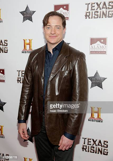 Brendan Fraser arrives at the Texas Honors event to celebrate the epic new HISTORY miniseries Texas Rising at the Alamo on May 18 2015 in San Antonio...