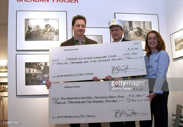 Brendan Fraser Deputy Chief Richard Fuerch and Michelle Lemay Santiago