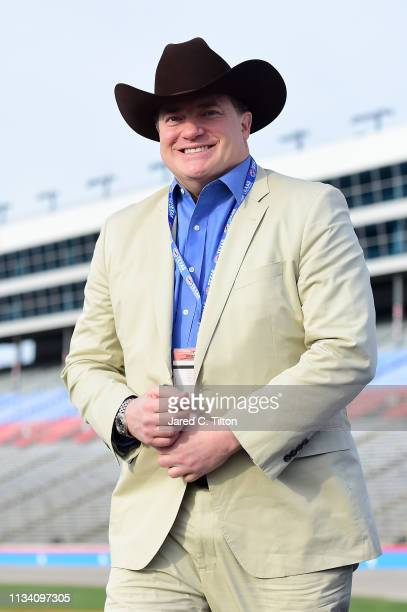 Brendan Fraser from DC Universe's Doom Patrol stands on the grid prior to the Monster Energy NASCAR Cup Series O'Reilly Auto Parts 500 at Texas Motor...