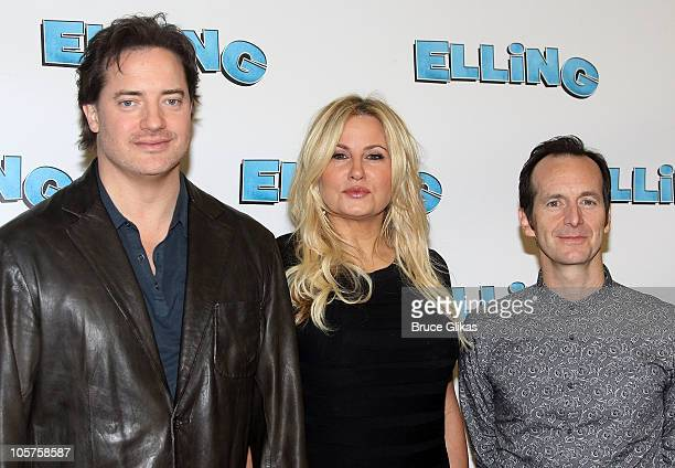 Brendan Fraser Jennifer Coolidge and Denis O'Hare attend Broadway's Elling meet and greet at the Ballet Tech Rehearsal Studios on October 19 2010 in...