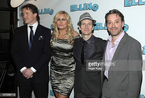 Brendan Fraser Jennifer Coolidge Denis O'Hare and Jeremy Shamos attend the after party for the Broadway opening night of Elling on November 21 2010...