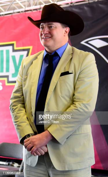 Brendan Fraser of DC Universe's Doom Patrol attends the Driver/Crew Chief Meeting before the Monster Energy NASCAR Cup Series O'Reilly Auto Parts 500...