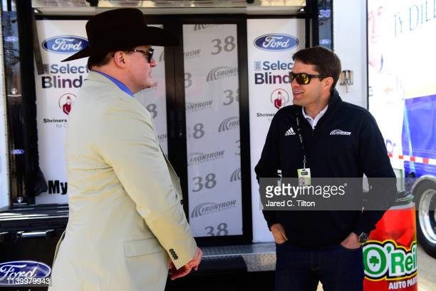 Brendan Fraser of DC Universe's Doom Patrol meets with NASCAR driver David Ragan before the Monster Energy NASCAR Cup Series O'Reilly Auto Parts 500...
