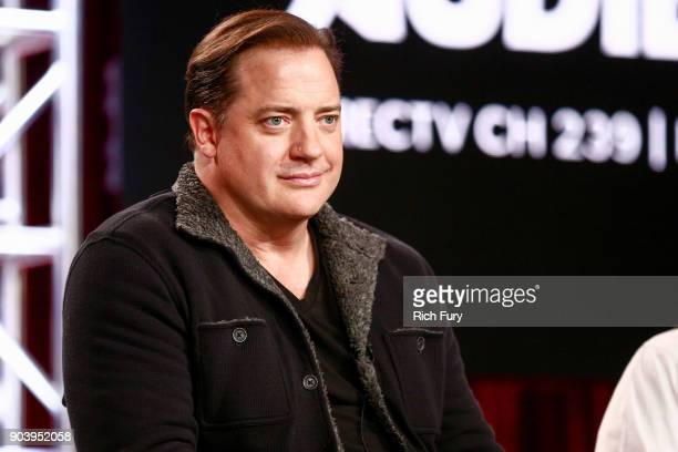 Brendan Fraser of the television show Condor speaks onstage during the ATT AUDIENCE Network 2018 Winter TCA on January 11 2018 in Pasadena California