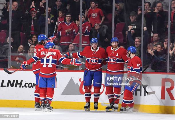 Brendan Gallagher Jacob De La Rose Nikita Scherbak Jeff Petry and Victor Mete of the Montreal Canadiens celebrate a goal against the New York...
