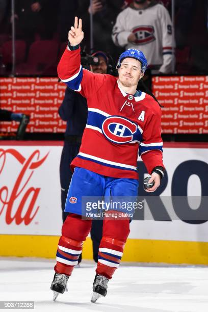 Brendan Gallagher of the Montreal Canadiens acknowledges the fans against the Vancouver Canucks during the NHL game at the Bell Centre on January 7...