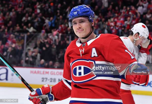 Brendan Gallagher of the Montreal Canadiens celebrates a goal against the Carolina Hurricanes in the NHL game at the Bell Centre on February 29, 2020...