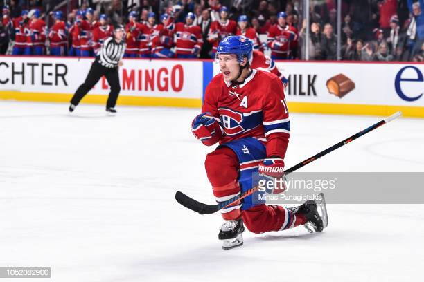 Brendan Gallagher of the Montreal Canadiens celebrates a second period goal against the Pittsburgh Penguins during the NHL game at the Bell Centre on...