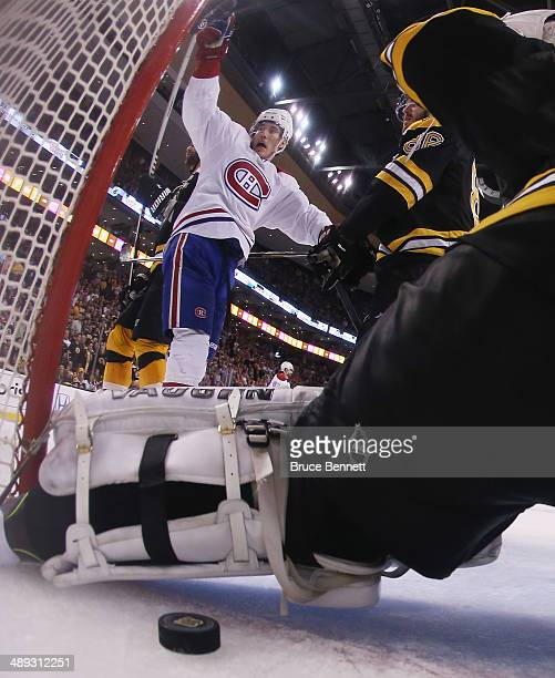 Brendan Gallagher of the Montreal Canadiens celebrates a third period goal by PK Subban against Tuukka Rask of the Boston Bruins during Game Five of...