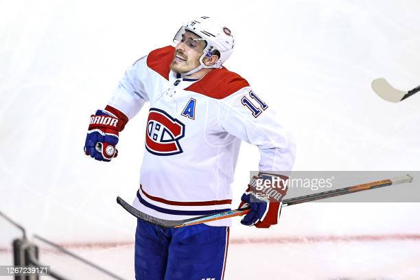 Brendan Gallagher of the Montreal Canadiens celebrates after scoring a goal against the Philadelphia Flyers at 11:30 during the second period in Game...