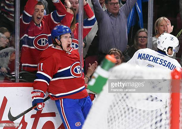 Brendan Gallagher of the Montreal Canadiens celebrates after scoring a goal against the Tampa Bay Lightning in the NHL game at the Bell Centre on...