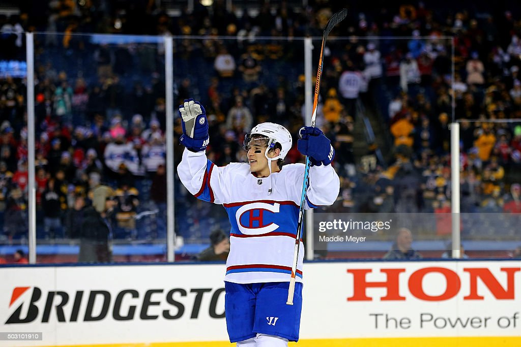 Brendan Gallagher #11 of the Montreal Canadiens celebrates after defeating the Boston Bruins during the 2016 Bridgestone NHL Winter Classic at Gillette Stadium on January 1, 2016 in Foxboro, Massachusetts. The Canadiens defeated the Bruins 5-1.