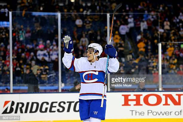 Brendan Gallagher of the Montreal Canadiens celebrates after defeating the Boston Bruins during the 2016 Bridgestone NHL Winter Classic at Gillette...