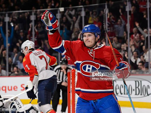 Brendan Gallagher of the Montreal Canadiens celebrates during the NHL game against the Florida Panthers at the Bell Centre on April 5 2016 in...