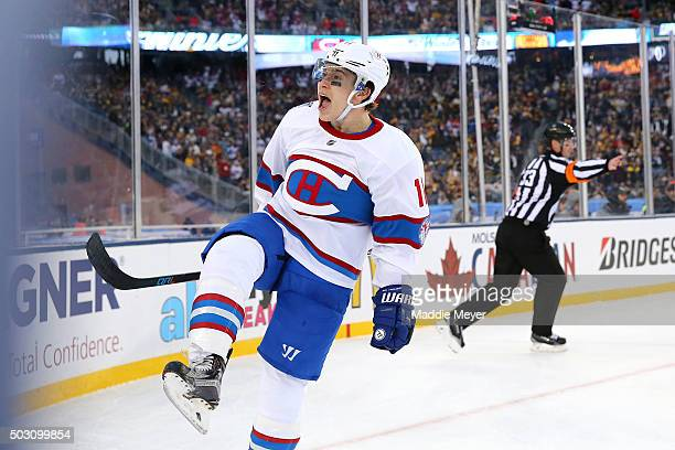 Brendan Gallagher of the Montreal Canadiens celebrates scoring his team's third goal against the Boston Bruins in the second period during the 2016...