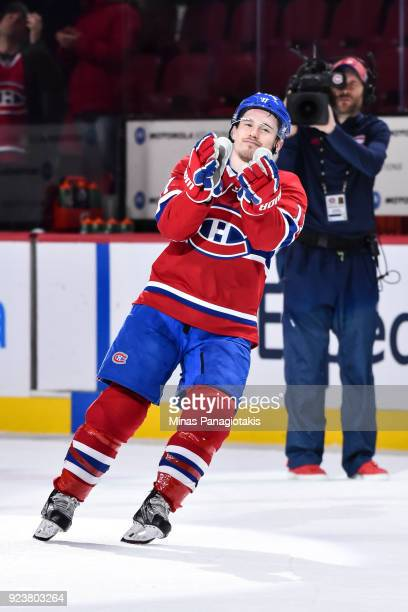 Brendan Gallagher of the Montreal Canadiens cheers on the fans after his victory against the New York Rangers during the NHL game at the Bell Centre...