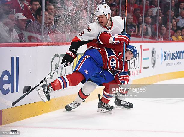 Brendan Gallagher of the Montreal Canadiens collides with Marc Methot of Ottawa Senators in Game Two of the Eastern Conference Quarterfinals during...