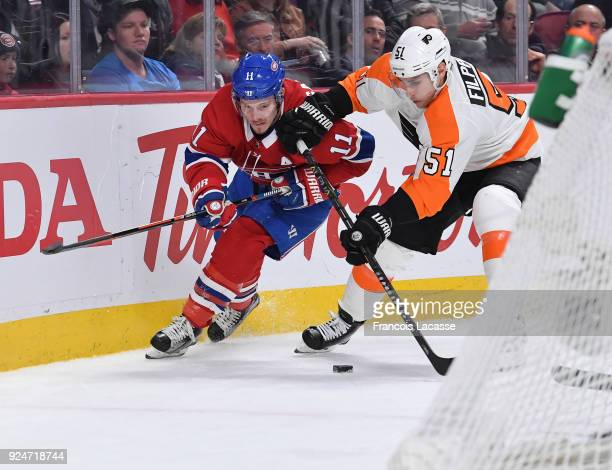 Brendan Gallagher of the Montreal Canadiens fights for the puck against Valtteri Filppula of the Philadelphia Flyers in the NHL game at the Bell...