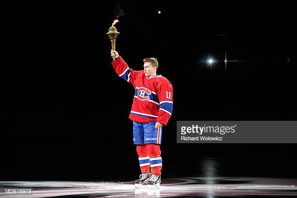 Brendan Gallagher of the Montreal Canadiens is introduced to fans during pre-game ceremonies prior to the NHL game between the Montreal Canadiens and...