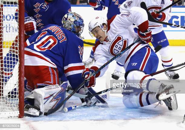 Brendan Gallagher of the Montreal Canadiens is stopped during the first period by Henrik Lundqvist of the New York Rangers in Game Four of the...