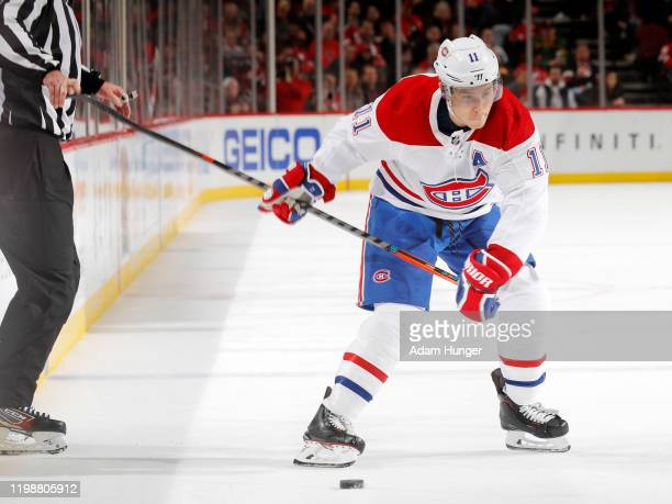 Brendan Gallagher of the Montreal Canadiens looks to take a shot on goal during the second period against the New Jersey Devils on February 4 2020 in...