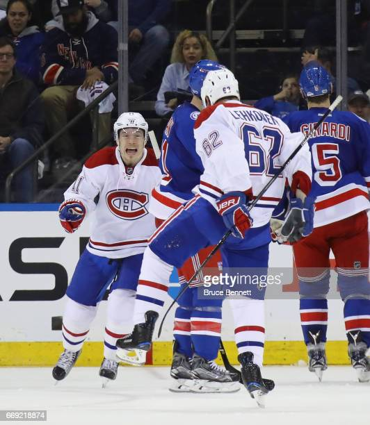 Brendan Gallagher of the Montreal Canadiens moves in to congratulate Artturi Lehkonen on his powerplay goal at 17:37 of the second period against...