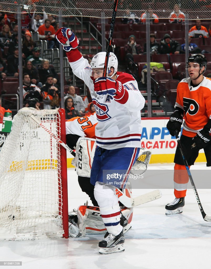Brendan Gallagher #11 of the Montreal Canadiens reacts after scoring a third period power-play goal against Brian Elliott #37 of the Philadelphia Flyers on February 8, 2018 at the Wells Fargo Center in Philadelphia, Pennsylvania. The Flyers went on to defeat the Canadiens 5-3.