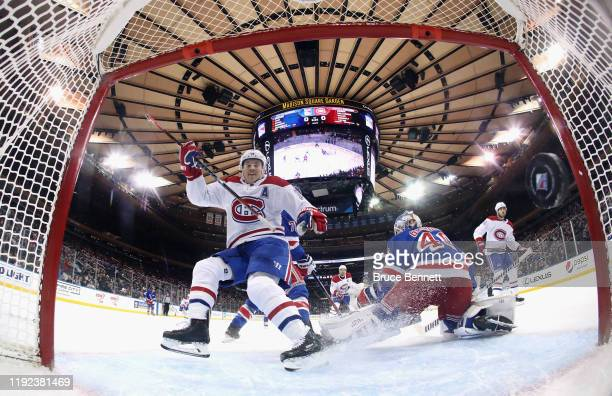 Brendan Gallagher of the Montreal Canadiens scores a first period goal against Alexandar Georgiev of the New York Rangers at Madison Square Garden on...