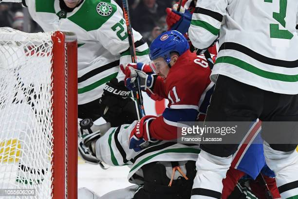 Brendan Gallagher of the Montreal Canadiens scores a goal on goaltender Ben Bishop of the Dallas Stars on a NHL game at the Bell Centre on October 30...