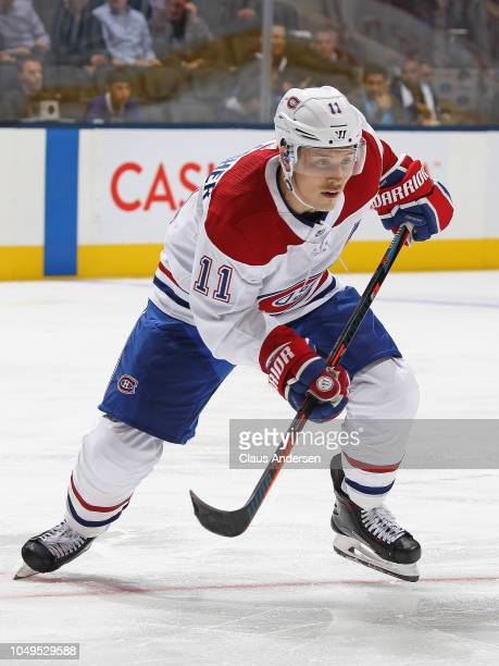 Brendan Gallagher of the Montreal Canadiens skates against the Toronto Maple Leafs during an NHL game at Scotiabank Arena on October 3 2018 in...
