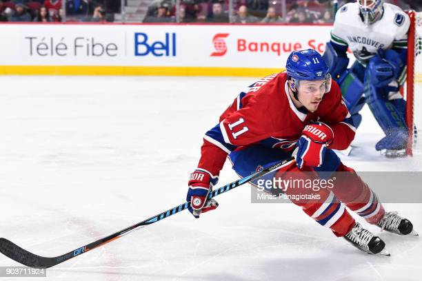 Brendan Gallagher of the Montreal Canadiens skates against the Vancouver Canucks during the NHL game at the Bell Centre on January 7 2018 in Montreal...