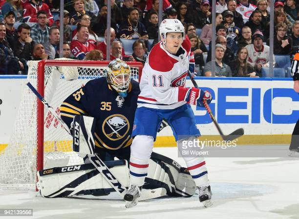 Brendan Gallagher of the Montreal Canadiens skates during an NHL game against Linus Ullmark of the Buffalo Sabres on March 23 2018 at KeyBank Center...