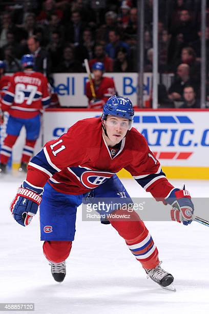 Brendan Gallagher of the Montreal Canadiens skates during the NHL game against the Winnipeg Jets at the Bell Centre on November 11 2014 in Montreal...