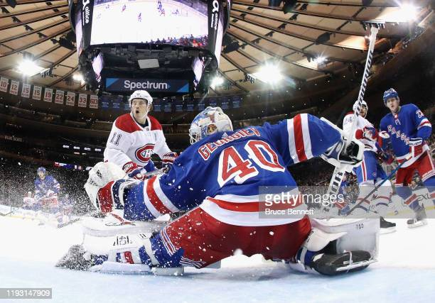 Brendan Gallagher of the Montreal Canadiens skates in on Alexandar Georgiev of the New York Rangers at Madison Square Garden on December 06 2019 in...