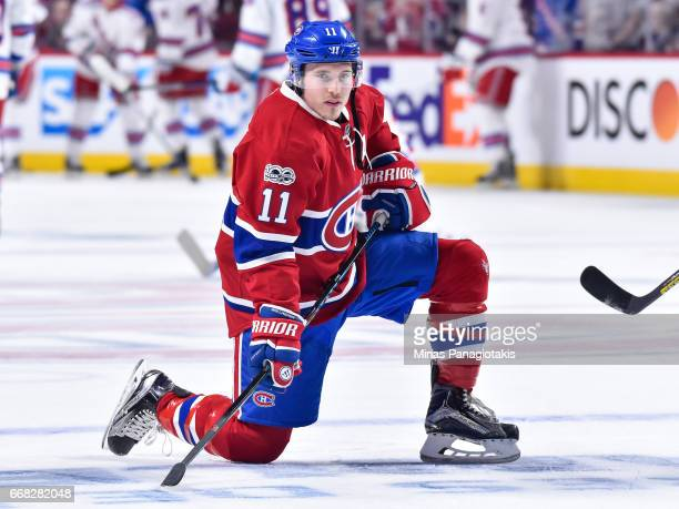 Brendan Gallagher of the Montreal Canadiens takes a break in the warmup prior to Game One of the Eastern Conference First Round during the 2017 NHL...