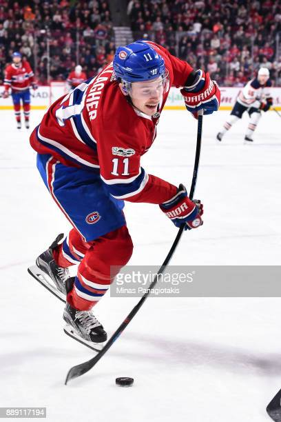 Brendan Gallagher of the Montreal Canadiens takes a shot against the Edmonton Oilers during the NHL game at the Bell Centre on December 9 2017 in...