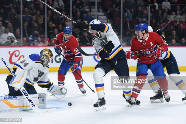 Brendan Gallagher of the Montreal Canadiens takes a shot on goal Jake Allen of the St Louis Blues in the NHL game at the Bell Centre on October 17...