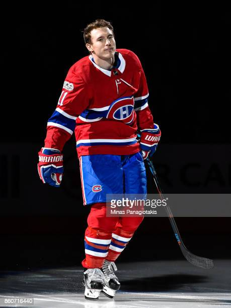 Brendan Gallagher of the Montreal Canadiens takes to the ice during the pre game ceremony prior to the NHL game against the Chicago Blackhawks at the...