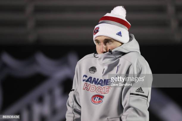 Brendan Gallagher of the Montreal Canadiens tries to stay warm in advance of the 2017 Scotiabank NHL100 Classic at Lansdowne Park on December 16,...