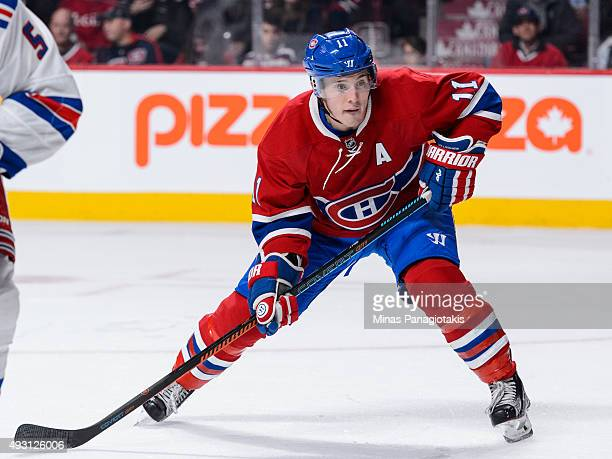 Brendan Gallagher of the Montreal Canadiens waits for the puck during the NHL game against the New York Rangers at the Bell Centre on October 15 2015...