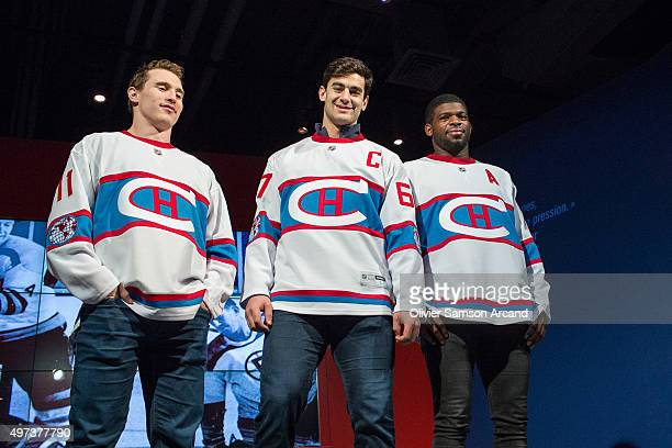 b63118b31ab Brendan Gallagher PK Subban and Max Pacioretty of the Montreal Canadiens  model the Montreal Canadians jersey