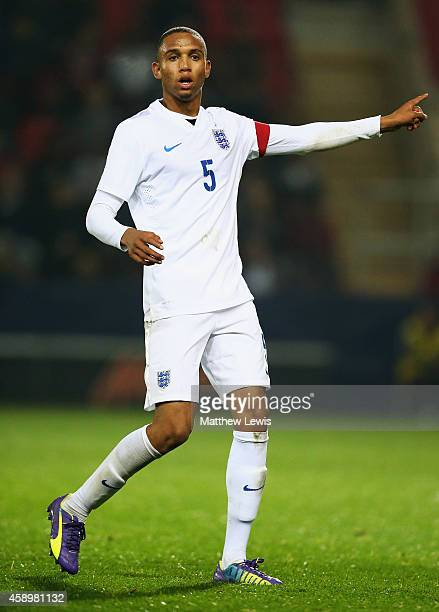 Brendan Galloway of England in action during the U19 International friendly match between England and Italy at The New York Stadium on November 14,...