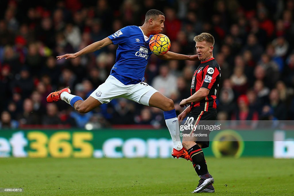 Brendan Galloway of Everton and Matt Ritchie of Bournemouth compete for the ball during the Barclays Premier League match between A.F.C. Bournemouth and Everton at Vitality Stadium on November 28, 2015 in Bournemouth, England.