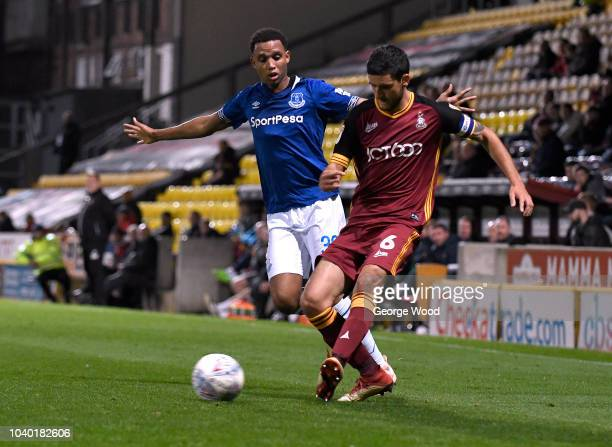 Brendan Galloway of Everton closes down Anthony O'Connor of Bradford City during the Checkatrade Trophy match betweet Bradford City and Everton U21's...