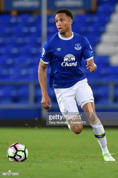 Brendan Galloway of Everton during the Premier League 2 match between Everton U23 and Tottenham Hotspur U23 at Goodison Park on April 10 2017 in...