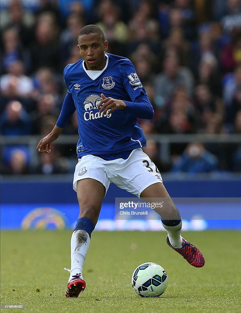 Brendan Galloway of Everton in action during the Barclays Premier League match between Everton and Tottenham Hotspur at Goodison Park on May 24, 2015 in Liverpool, England.