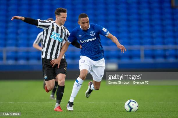 Brendan Galloway of Everton in action during the Premier League 2 Cup final against Newcastle United at Goodison Park on May 08, 2019 in Liverpool,...