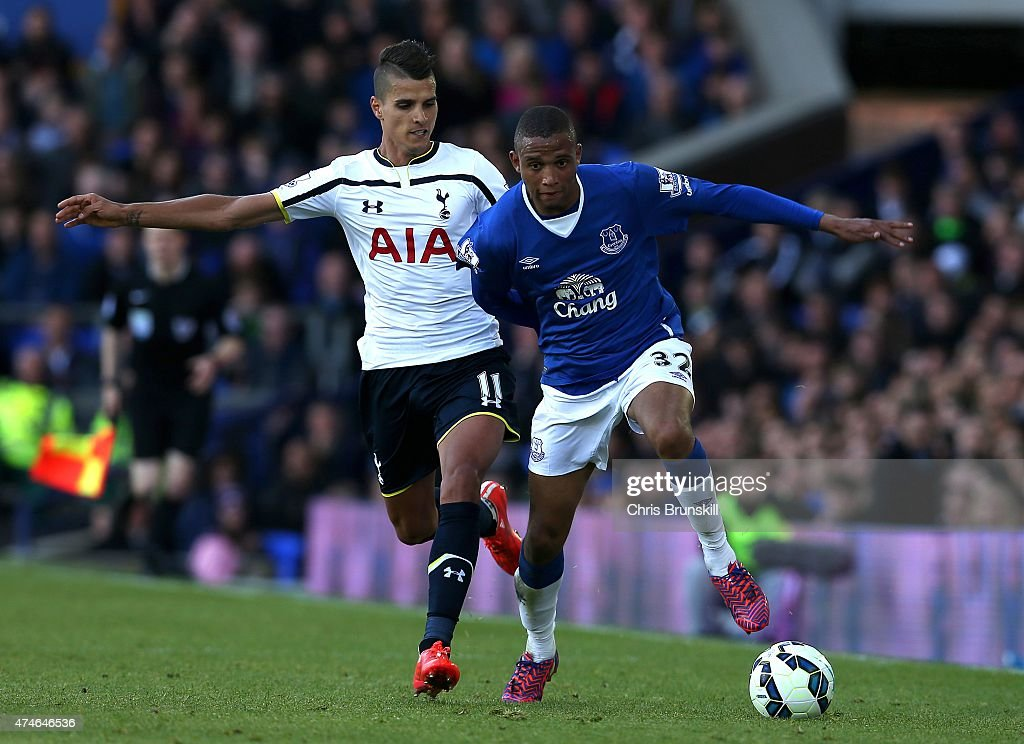 Brendan Galloway of Everton in action with Eric Lamela of Tottenham Hotspur during the Barclays Premier League match between Everton and Tottenham Hotspur at Goodison Park on May 24, 2015 in Liverpool, England.